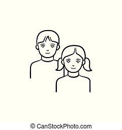 niña, y, niño, mano, dibujado, bosquejo, icon.