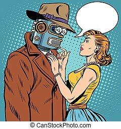 niña, y, robot, inteligencia artificial, ficción