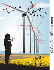 niña, y, turbina del viento