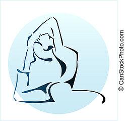 niña, yoga, contorno, ilustración, ejercicio