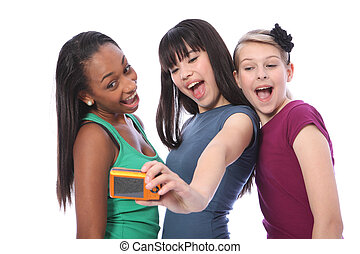 niñas adolescentes, diversión, fotografía de autorretrato
