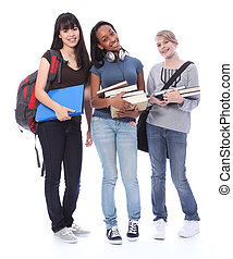 niñas adolescentes, estudiante, étnico, educación, feliz