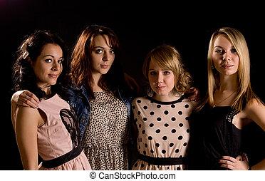 niñas adolescentes, joven, noche, elegante, afuera