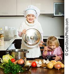 niñas, aprendizaje, cómo, para prepararse, alimento