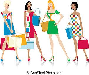 niñas, bolsas de compras