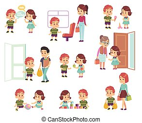 niñas, cortés, vector, niños, diferente, porción,...
