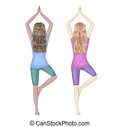 niñas, dibujado, de piel oscura, ilustración, mano, yoga, pose., blanco, dos, árbol