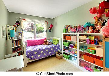 niñas, dormitorio, con, muchos, juguetes, y, púrpura, bed.