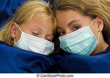 niñas, dos, cama, enfermo
