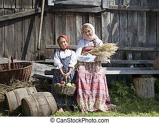 niñas, dos, fotografía de la vendimia