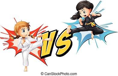 niñas, dos, lucha