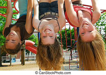 niñas, en, un, parque
