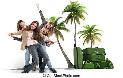 niñas, en, un, vacaciones