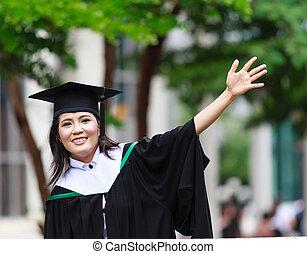 niñas, felicitación, asiático, graduación