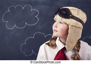 niñas, gafas de protección, sombrero, joven, aviador
