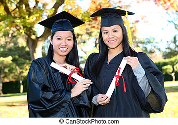 niñas, graduación, lindo