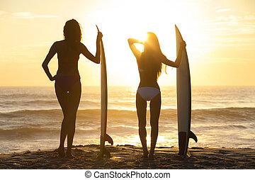 niñas hermosas, tablista, biquini, playa puesta sol, tablas de surf, mujeres