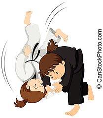niñas, judo, dos, juego