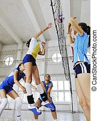 niñas, jugando voleibol, interior, juego