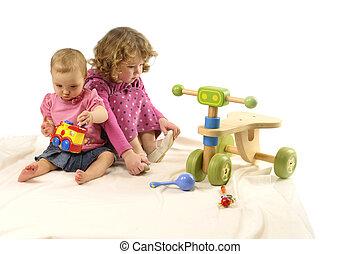 niñas, juguetes