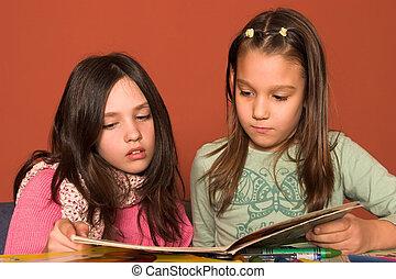 niñas, libro de lectura, en, aula