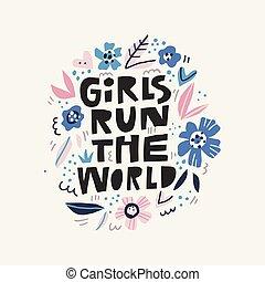 niñas, mensaje, corra, ilustración, mundo