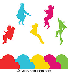 niñas, niños, saltar, vector, silueta, conjunto, plano de fondo