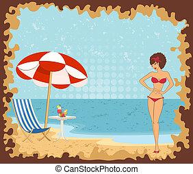 niñas, playa, verano