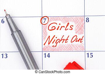 niñas, pluma, noche, recordatorio, calendario, afuera