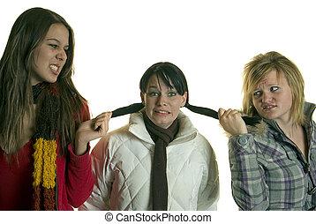 niñas, tirón, pelo, medio