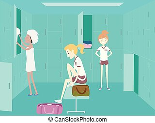 niñas, uniforme, estudiante universitario, pe, cambiar,...