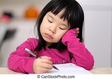 niñez temprana, educación, concepto, con, niña, aprender, para escribir