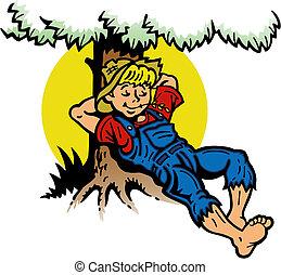 niño, árbol, descansar, debajo