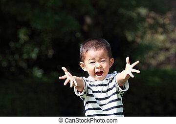 niño, (3, japonés, años, old), sonriente