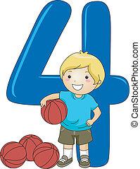 niño, 4, número