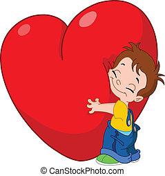 niño, abrazo, corazón