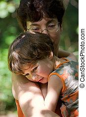 niño, abrazos, madre