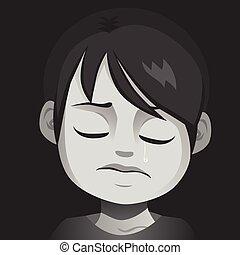 niño, abuso, triste, llanto, niño