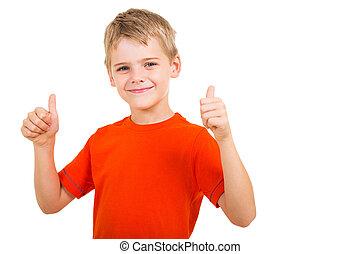 niño, actuación, arriba, joven, pulgares, gesto