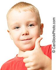 niño, actuación, arriba, pulgares, gesto, feliz