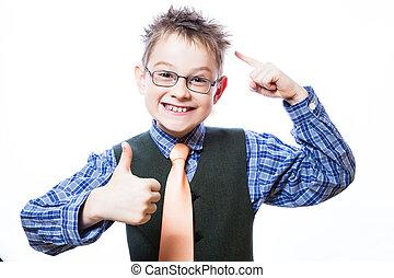 niño, actuación, arriba, pulgares, retrato, feliz