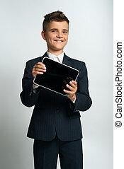 niño, actuación, computadora, tableta