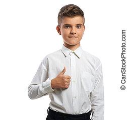 niño, actuación, feliz, arriba, pulgares