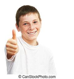 niño, actuación, joven, arriba, pulgares, retrato, caucásico