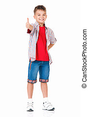 niño, actuación, pulgares arriba
