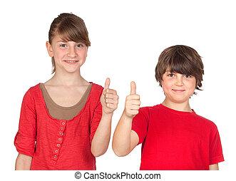 niño, adolescente, aprobar, refrán, vestido, niña, rojo