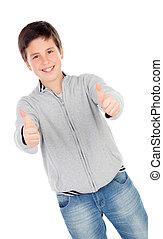 niño, adolescente, aprobar, refrán, trece, sonriente