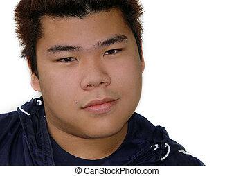 niño, adolescente, asiático