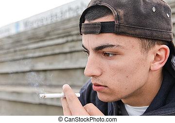 niño, adolescente, concepto, gente, outdoor., joven, perjudicial, cigarrillo, hábitos, fumar