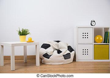 niño, adolescente, diseño, habitación